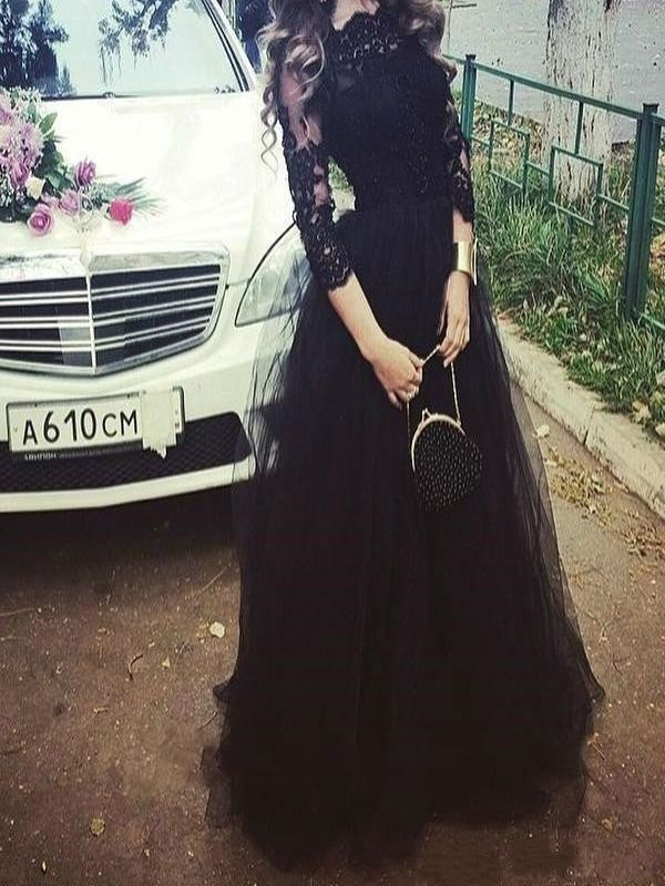 Long Custom Prom Dress, Long Sleeve prom dress, Black Lace prom dress, Charming Evening Party dress, Prom Gown 2017, Unique Style prom dress, Dress for prom. PD012293