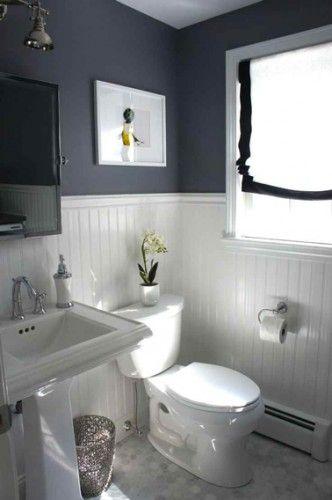 peinture grise dans petite salle de bain cosy
