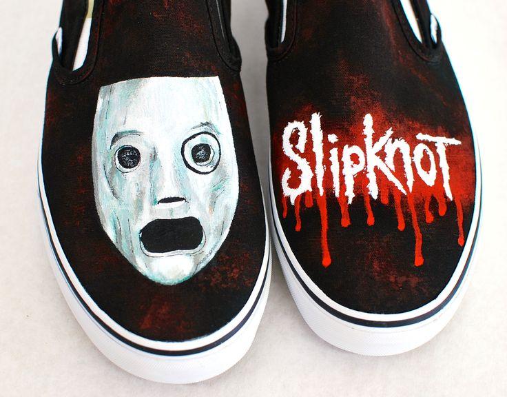 Custom Black Canvas Slipknot Vans - Hand Painted