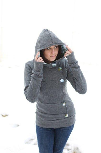 Side Button Sweatshirt. #Fashion #Sweatshirt