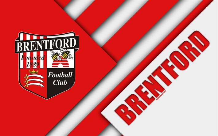 Download wallpapers Brentford FC, logo, red white abstraction, material design, English football club, Hounslow, England, UK, football, EFL Championship
