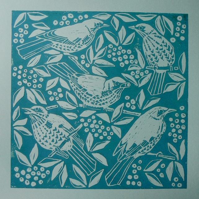 Pretty birdies Lino print