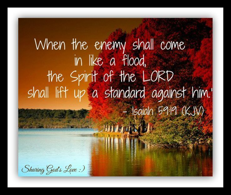 So shall they fear the name of the Lord from the west and his glory from the rising of the sun. When the enemy shall come in like a flood the Spirit of the Lord shall lift up a standard against him. [Isaiah 59:19]