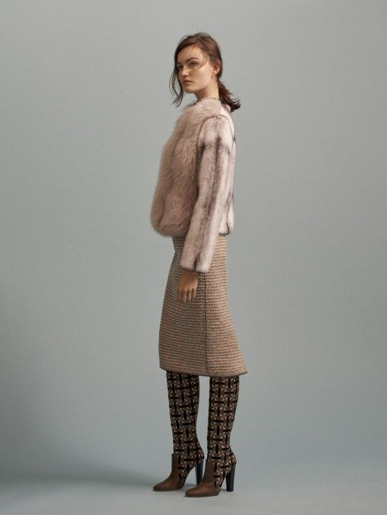 Cross-Mink Jacket with Fox Fur Panels