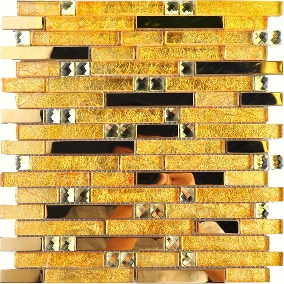 Gold Glass And Metal Backsplash Tile 10101 12x12 Etsy In 2020 Glass Mosaic Bathroom Stainless Steel Tile Metal Tile Backsplash