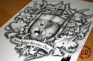 Family Coat Of Arms Tattoo Design from Dark Design Graphics