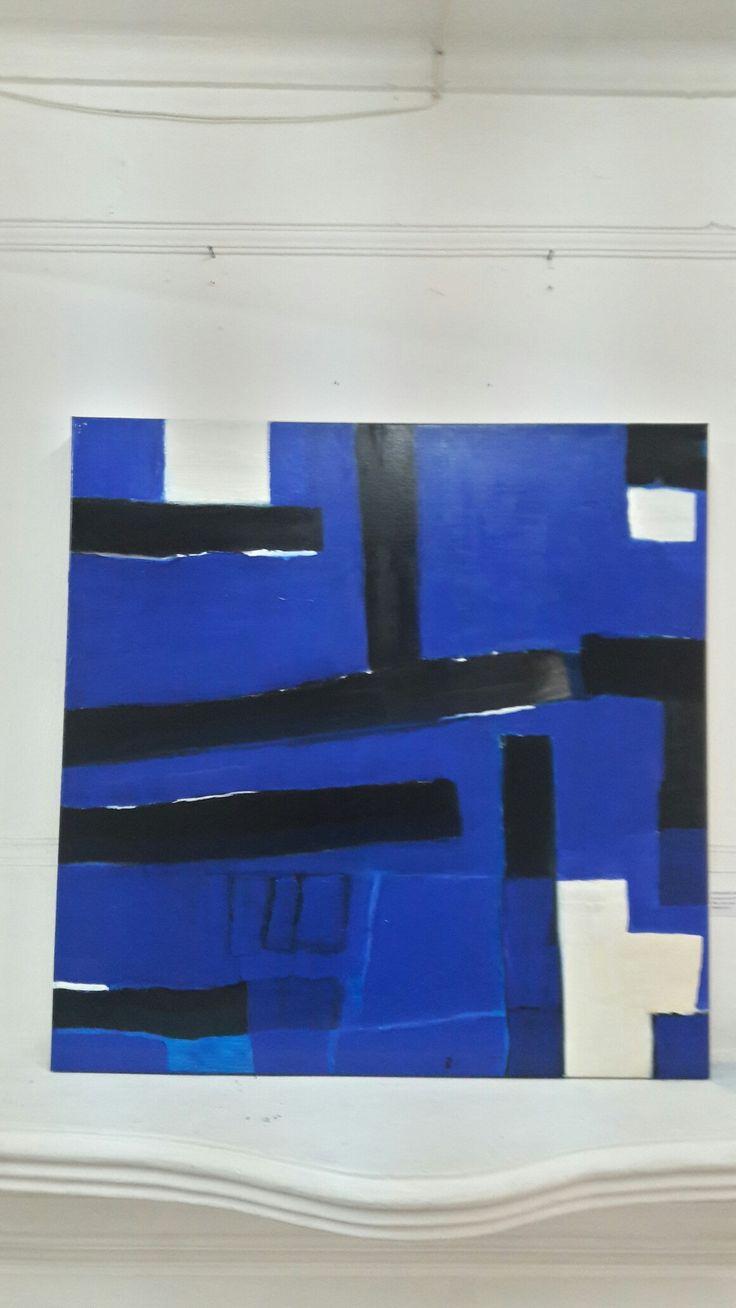 Autor: Marcelo Ortúzar R 80 x 80 cm. Oleo sobre tela. Paisaje interior en azul. 2016