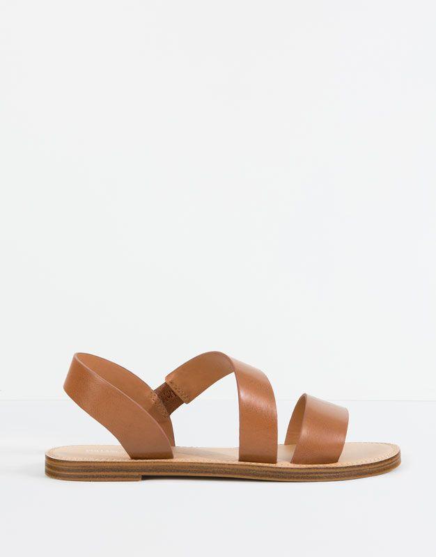 Pull&Bear - zapatos - novedades - sandalia tiras marrón - cuero - 11725111-V2016