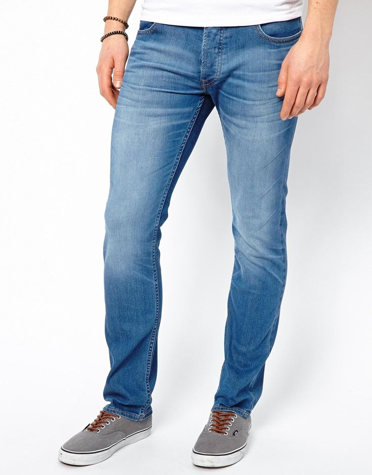 $159, Blue Skinny Jeans: Lee Jeans Luke Skinny Blue Stream. Sold by Asos. Click for more info: https://lookastic.com/men/shop_items/39043/redirect