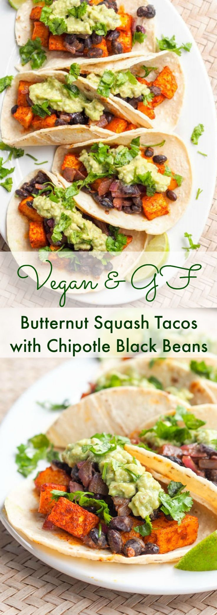 Vegan butternut squash tacos with chipotle black beans are bound to be your new favorite meal. Creamy and smoky roasted squash paired with spicy black beans, crunchy red onions, citrusy lime juice, and creamy avocado crema, all wrapped up in a small soft corn tortilla. Gluten free too.