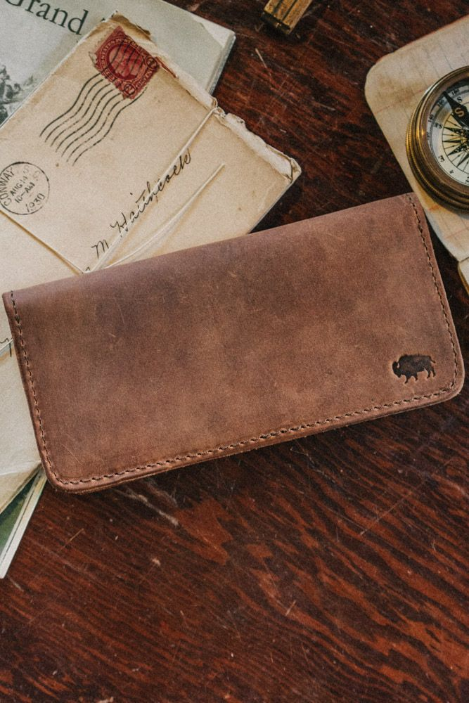 Denver Leather Checkbook Wallet - Sienna Brown