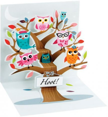 Hoot Owl Pop-Up Card Pinned by www.myowlbarn.com