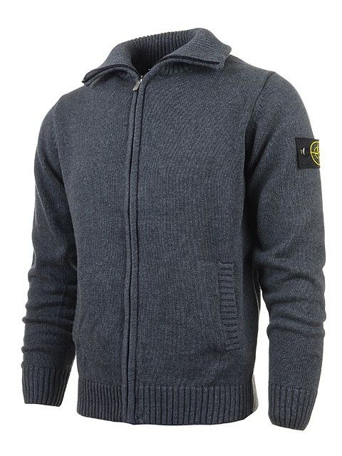 Stone Island Men's Zip Cardigans Sweaters Badge Gray up to 70% off