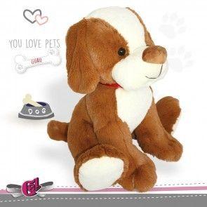Perro de peluche marron y blanco 30cm