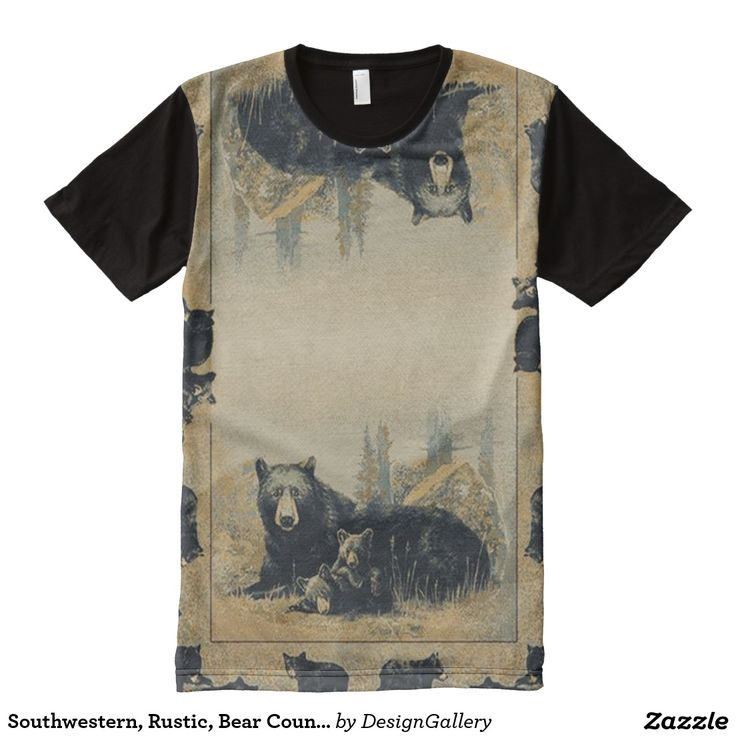 Southwestern, Rustic, Bear Country, Lodge Pattern All-Over Print T-shirt