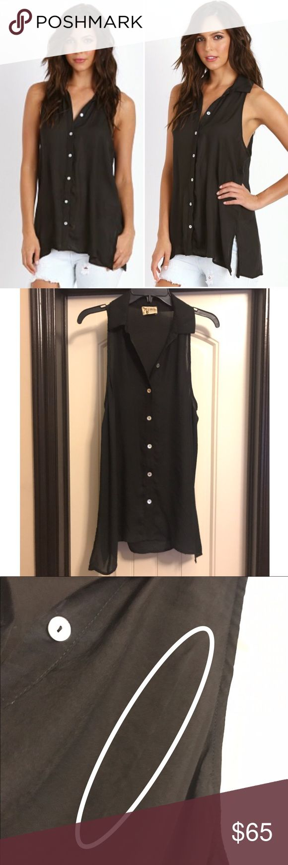 Show Me Your Mumu Caz Collared Top Caz Collared Top in Black Silky Satin. Pull on front, but not noticeable when worn Show Me Your MuMu Tops