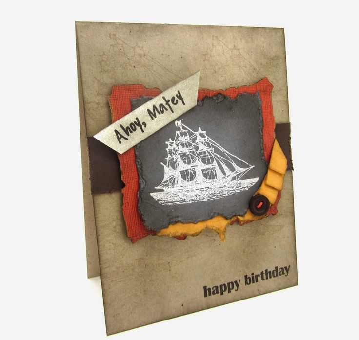 A Masculine card using The Open Sea stamp and inspired by Monica Gale, #stampinup, Birthdaycard, #pirates, #heatembossing, www.pinkblingcrafter.blogspot.com