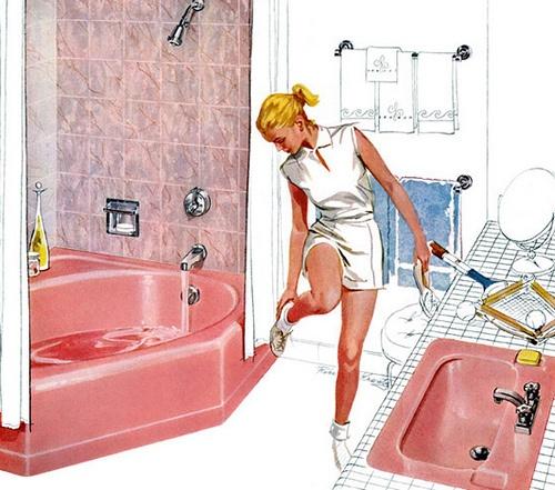 Raine's Bathroom1950S Illustration, 1950S Bathroom, Vintage Pink, 1950S Decor, Vintage Bath, Pink Bathtubs, Retro Bathroom, 1940S 1950S, Pink Bathroom