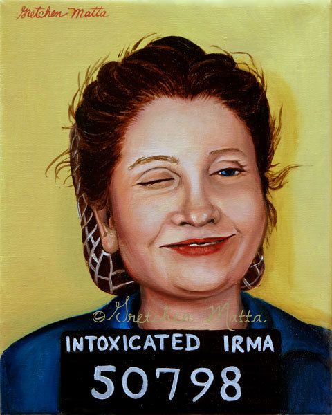Intoxicated Irma  Original Portrait Oil by GretchenMattaStudio