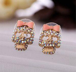 Cool betsey johnson Pink Bow Skeleton Skull Stud Earrings. adorbs.