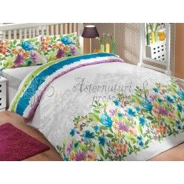 Hobby Home Lilian albastru - Lenjerie de pat din bumbac ranforce 2 persoane