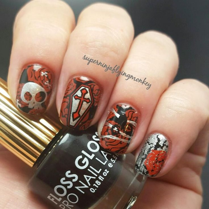 I did these suckers 4 times and I'm still not happy with them but after the 4th try they are getting posted! Gothic Graveyard for #bundlemonster #monsterscream. Started with a base of @flossgloss Black Holy. Stamped using #bm323 #b402 @mundodeunas Reddish @bundlemonster Noir and @sally_hansen Silver Sweep. On the pinky I used @opi_products Silver Shatter. Topped with HK Girl from @glistenandglow1. Used my pink Tasse stamper and blue Perfect Manicure brush from @cosette.nail.shop #flossgloss…