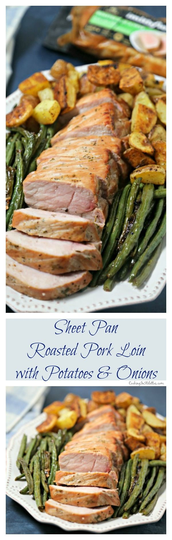 For busy weeknights, make this scrumptious Sheet Pan Roasted Pork Loin with Potatoes and Green Beans from CookingInStilettos.com. Ready in 30 minutes thanks to Smithfield® Marinated Fresh Pork, this easy sheet pan dinner will be a family favorite!  #RealFlavorRealFast With @SmithfieldFoods and @Walmart. Sponsored | Roasted Pork Loin | Sheet Pan Dinner | 30 Minute Meal | Weeknight Dinner Recipe | Pork | Oven Roasted Pork | Pork Loin Filet | Smithfield Pork Recipe via @CookInStilettos