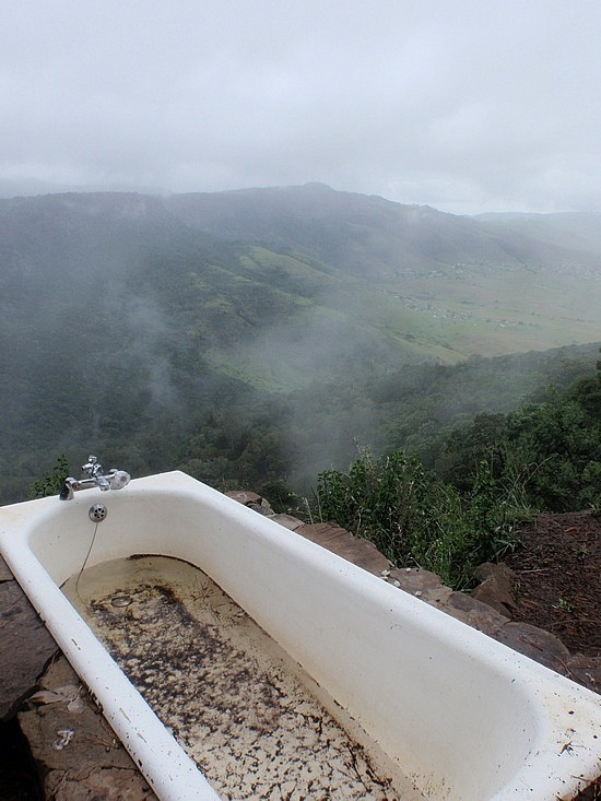 Outdoor bathtub with view of Hogsback, Eastern Cape. Amazing!