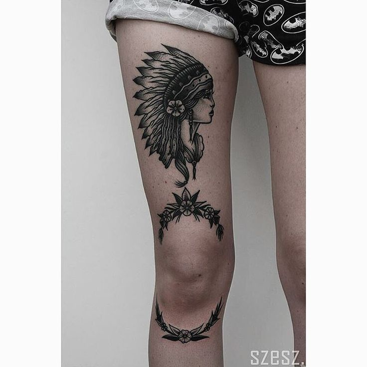 """Native girl and flowers above the knee are healed, flowers below the knee are fresh  Thank You @middleseat  tattoo #tattoos #tattooed #flowertattoo…"""