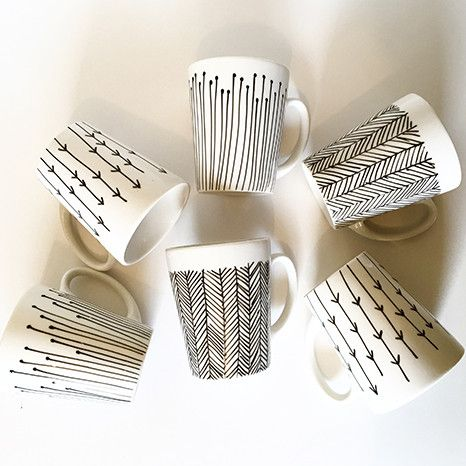 DIY Kit: Hand Painted Cups - monochrome