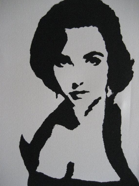 Elizabeth Taylor Pop Art Graffiti Stencil by CrankedUpReallyHigh, $30.00