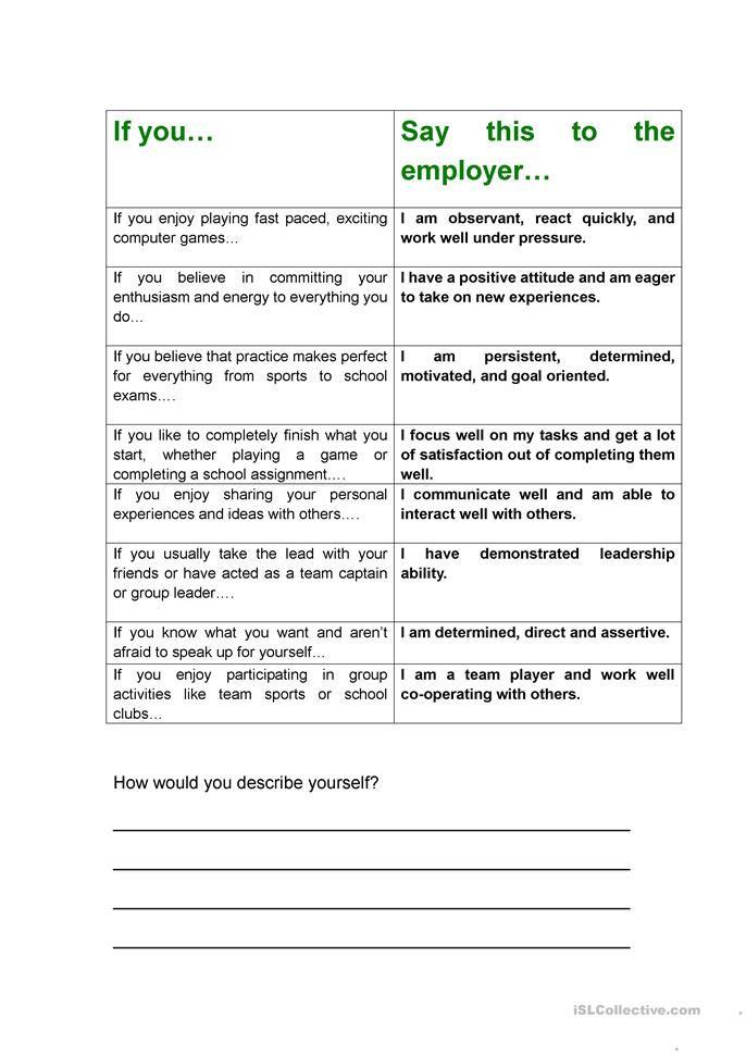 Job Interview Cv Work Skills Positive Attitude Activities Printable Worksheets