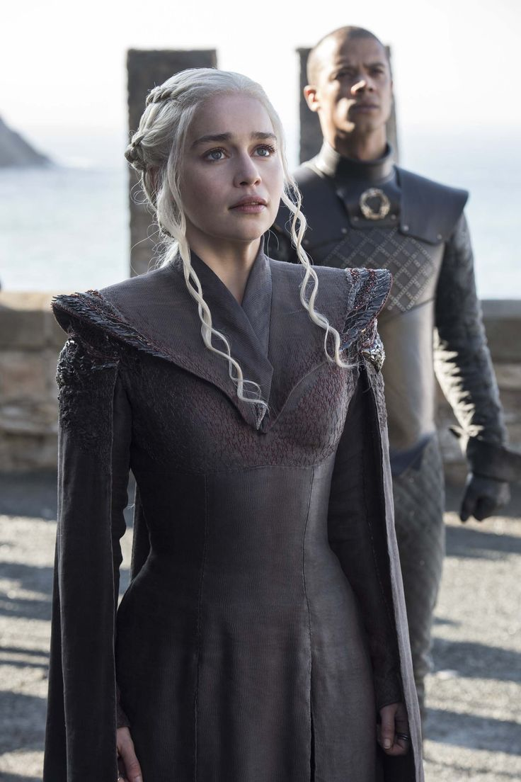 HBO just released some photos from Sunday's season premiere of Game of Thrones. Images include Brienne sparring with Podrick at Winterfell, Daenerys approaching the throne at Dragonstone, Dol…