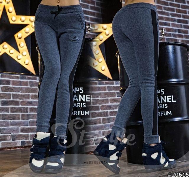 Женские спортивные теплые брюки лосины с начесом Найк серые графит
