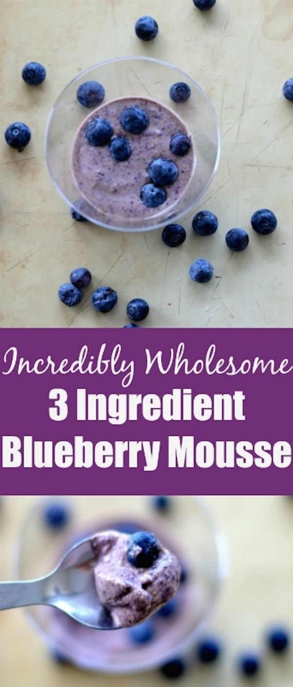 Incredibly Wholesome 3 Ingredient Blueberry Mousse recipe.