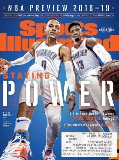 info for daaea dc4e1 Sports Illustrated 2018-19 NBA Preview-Russell Westbrook Paul George-OKC  THUNDER