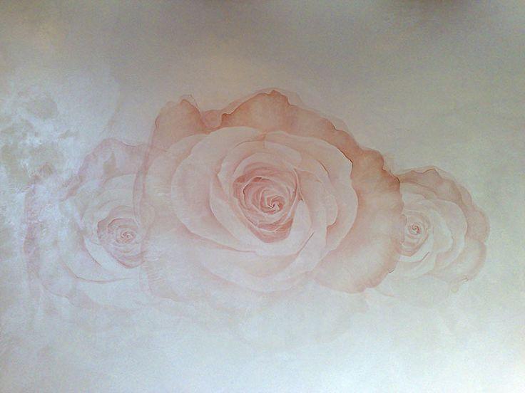 Художественная роспись стены Роза  Стены декоративная покраска Отточенто