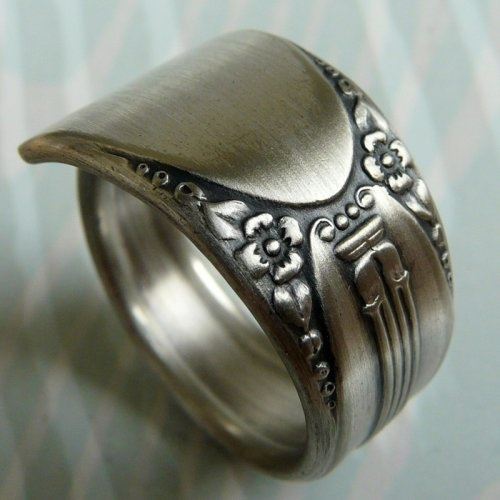 Cute The Silver Lining Symphony Antique Silver Spoon Ring