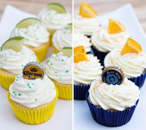blue moon & corona cupcakes (Coronarita cupcakes?)