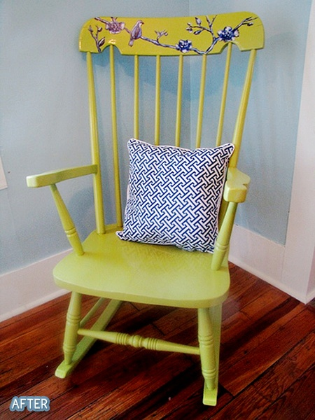 don't like the colors, but the idea of repainting the rocking chair and adding some details to the top