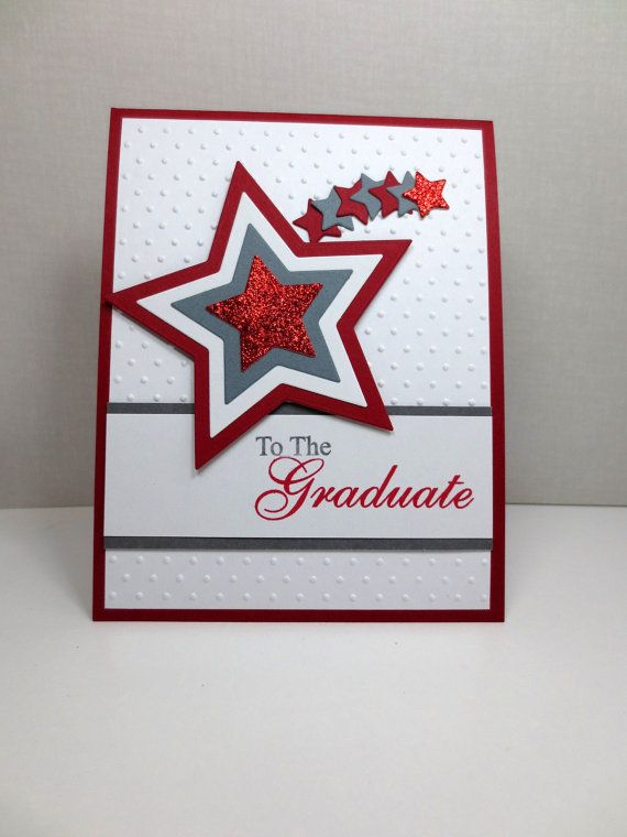 63 best cards graduation images on pinterest graduation ideas items similar to handmade graduation card stampin up masculine star red and gray blank inside on etsy m4hsunfo