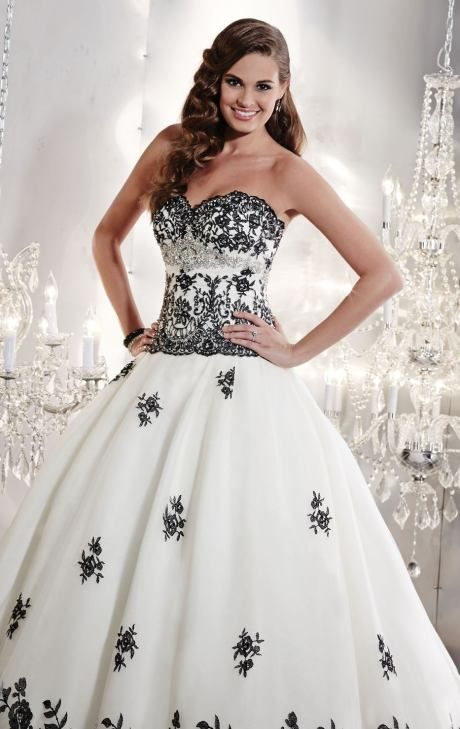 Black And White Dropped Waist Ballgown Wedding Dress By Christina Wu 15532 By Christina Wu