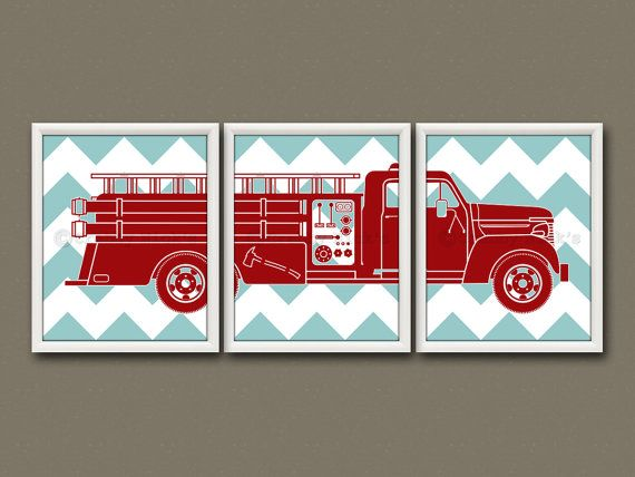 8x10 (3) FIRE TRUCK PRINTS   Nursery Art, Nursery Decor, Childrenu0027s Art