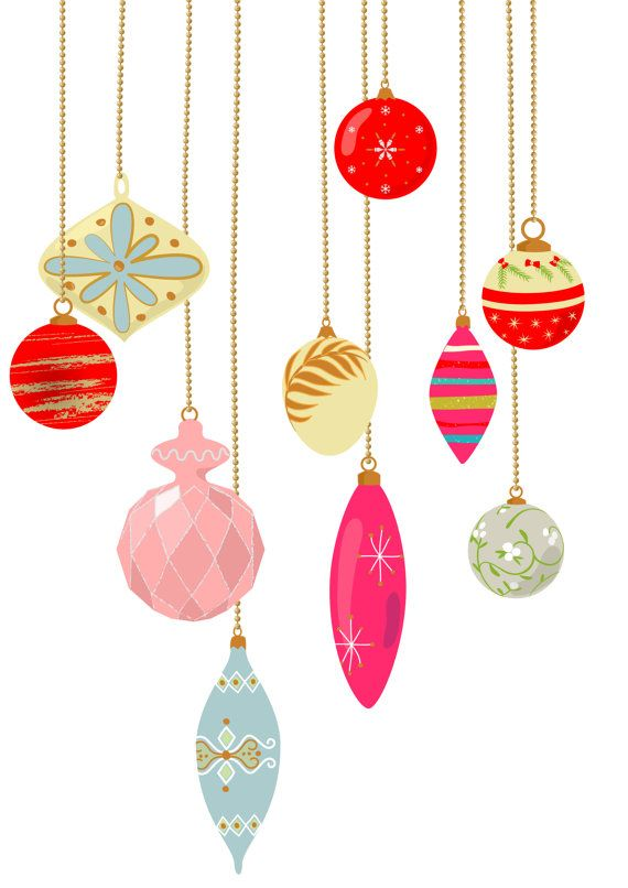 10 vintage christmas ornament clip art pastel color for Ball decoration ideas