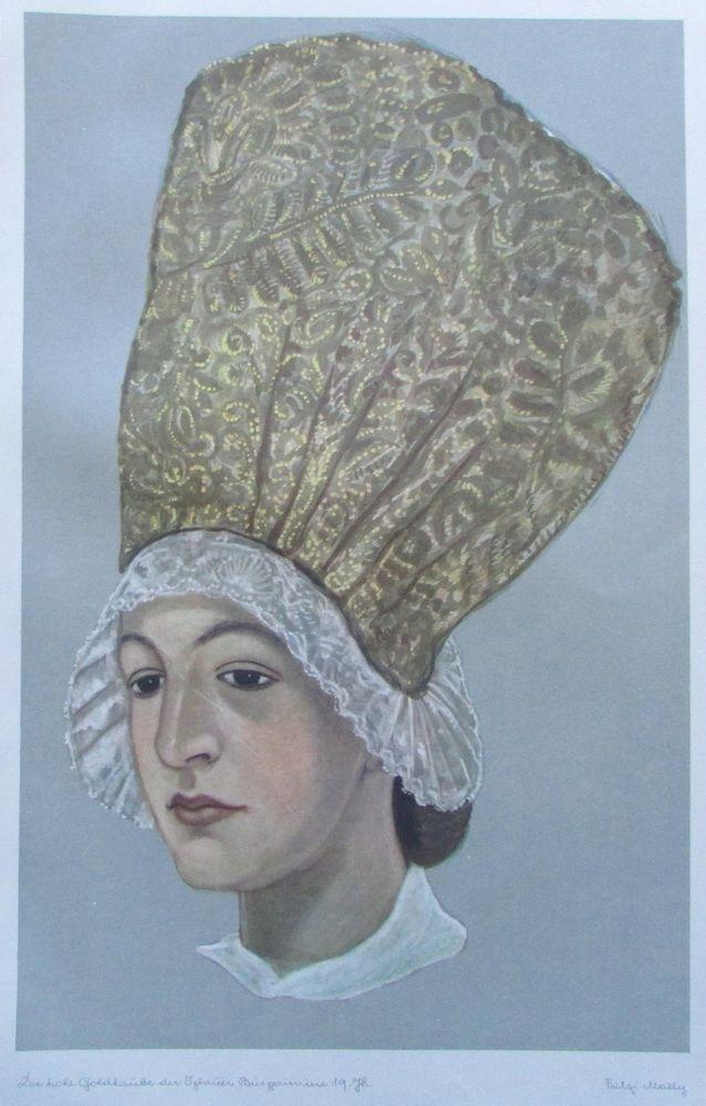 Fritzi Mally IGLAUER GOLDHAUBE Trachten Sudetenland 1943 Kunstdruck print