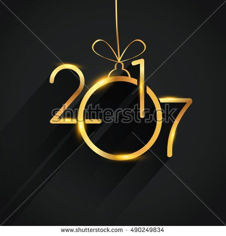 Happy New Year 2017 background with Christmas ball, text design gold colored, vector elements for calendar and greeting card