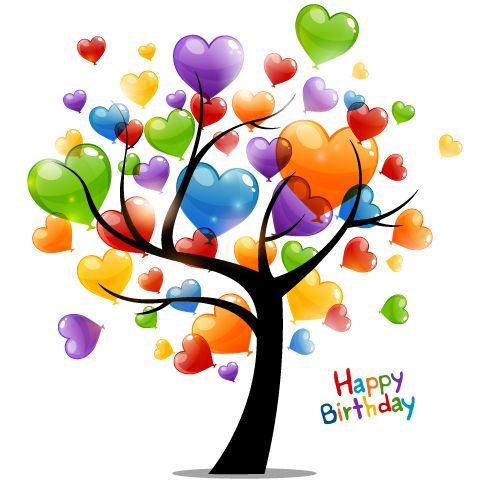 Colored heart tree happy birthday card vector