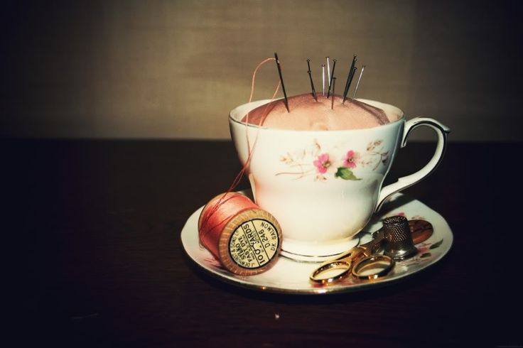 great idea for gifts for sewing rooms.  You can purchase cups and saucers at Goodwill.