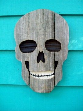 Upcycled Fence Wood Skull by John Birdsong - contemporary - holiday outdoor decorations - Etsy