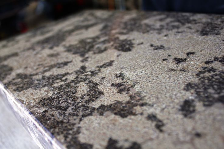 Hand packed, multi color concrete countertop.
